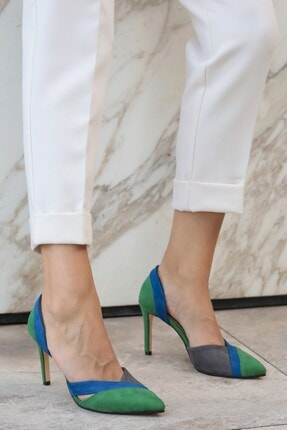 Mio Gusto Anita Yeşil Bloklu Topuklu Ayakkabı