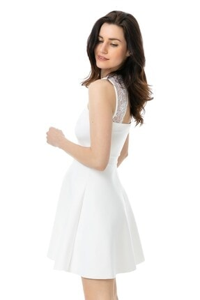 bayansepeti Esnek Kumaş Sırtı Dantel Detaylı Beyaz Elbise White Evening Dress
