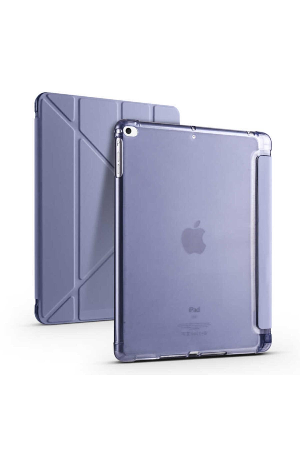 carına vannı Apple Ipad 9.7 2018 Uyumlu Mor,kalem Bölmeli Katlanabilir Tablet Kılıfı,standlı Kılıf Pnd 1