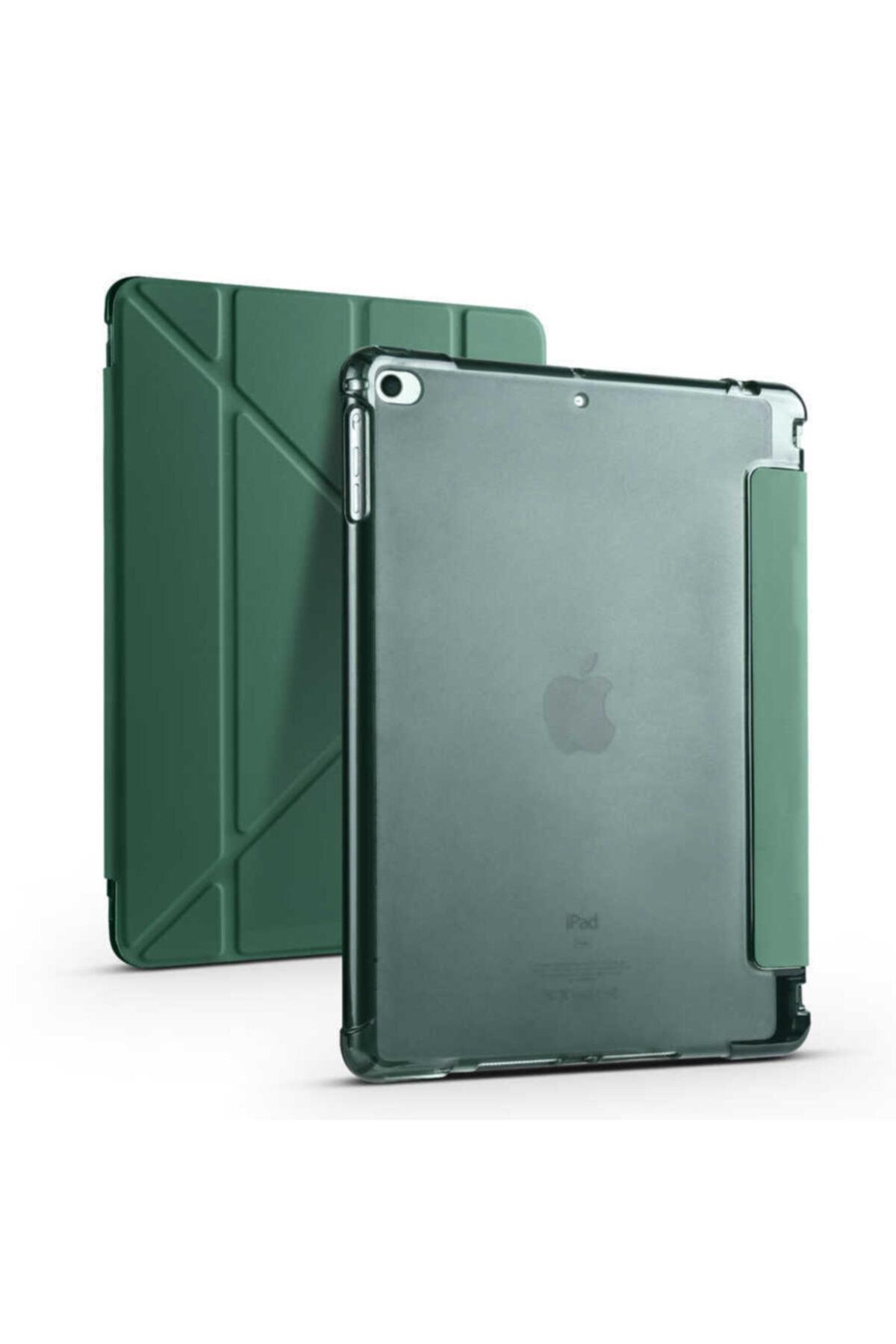 carına vannı Apple Ipad 9.7 2018 Uyumlu Koyu Yeşil Kalem Bölmeli,katlanabilir Tablet Kılıfı,standlı Kılıf Pnd 1