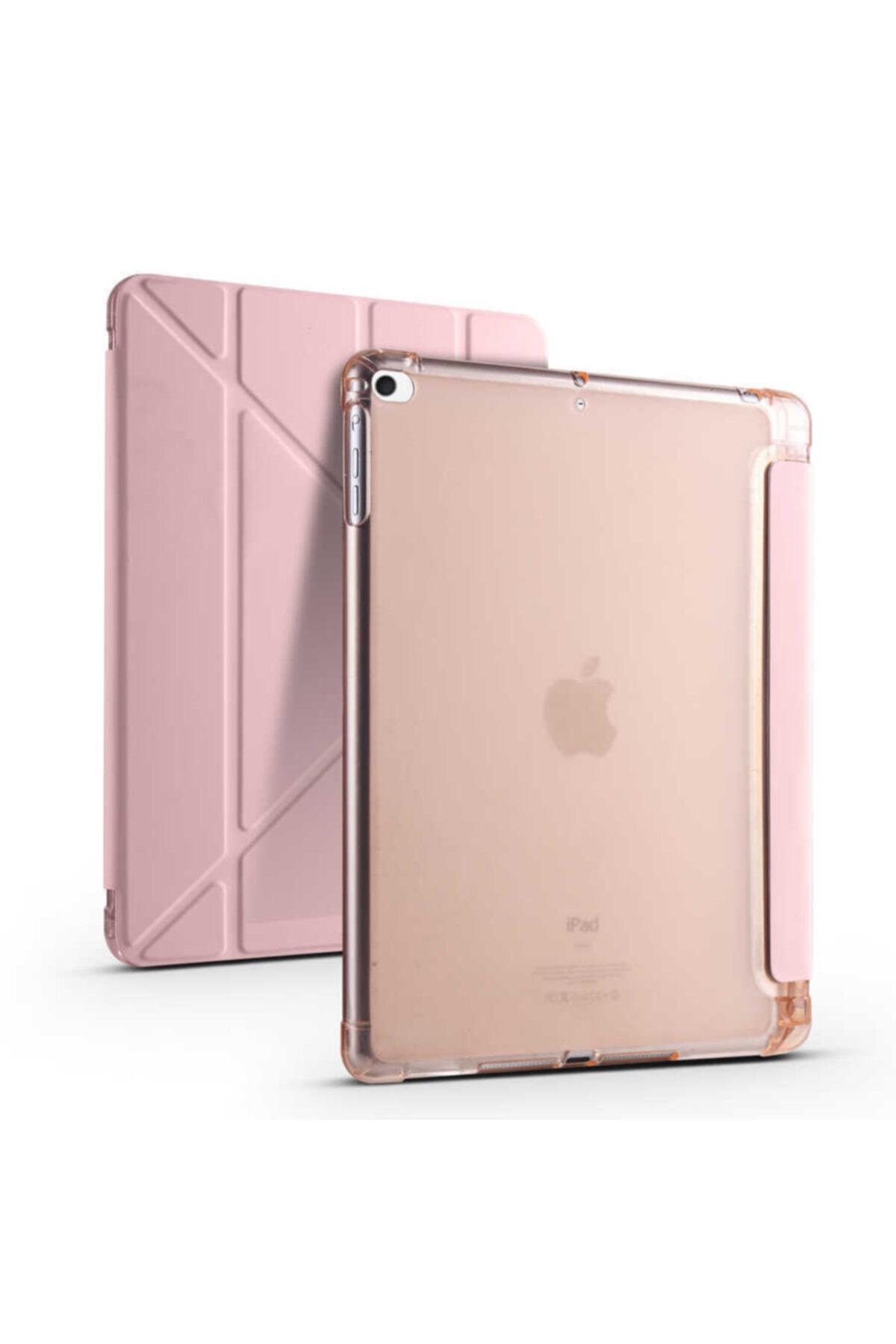 carına vannı Apple Ipad 9.7 2018 Uyumlu Rose Gold,kalem Bölmeli Katlanabilir Tablet Kılıfı,standlı Kılıf Pnd 1