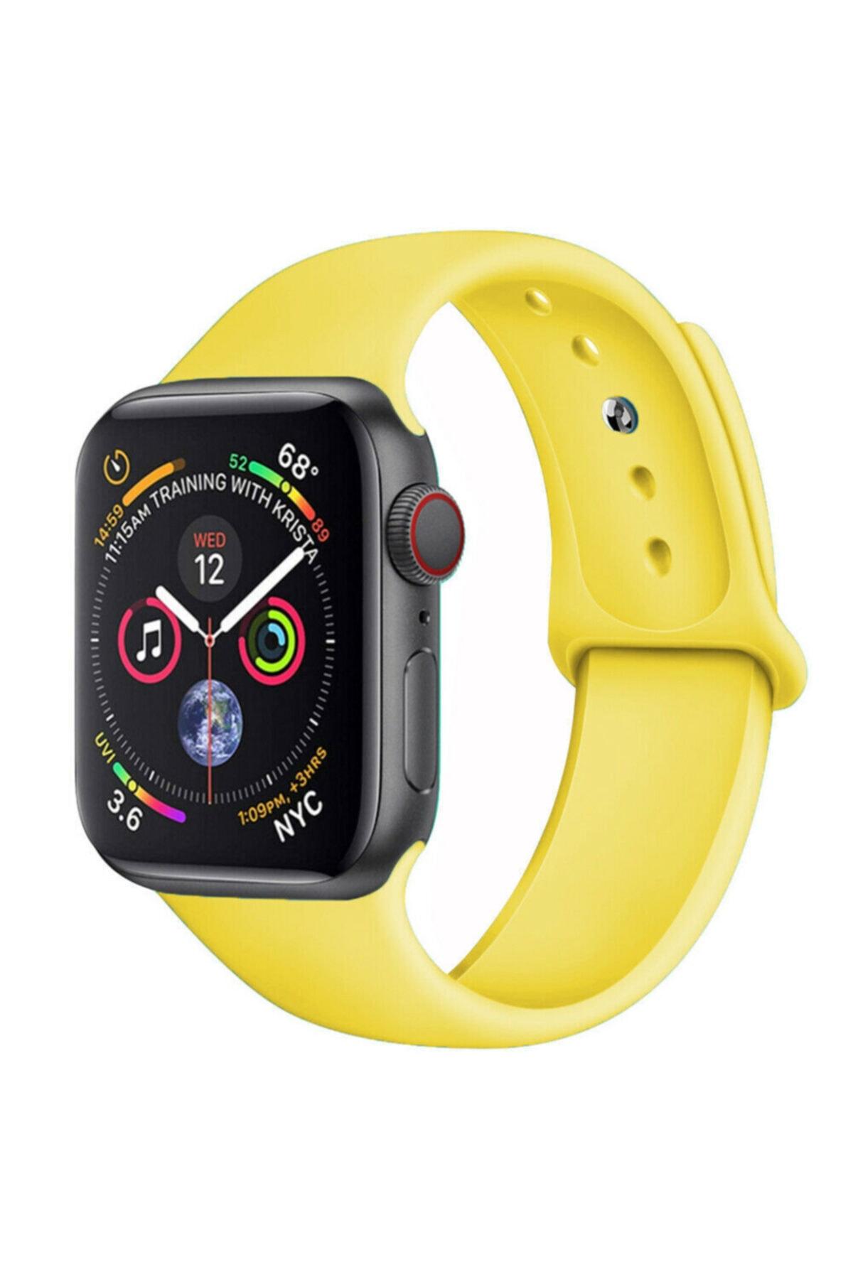 Bilişim Aksesuar Apple Watch 42 44 Mm Silikon Kordon Sarı 1