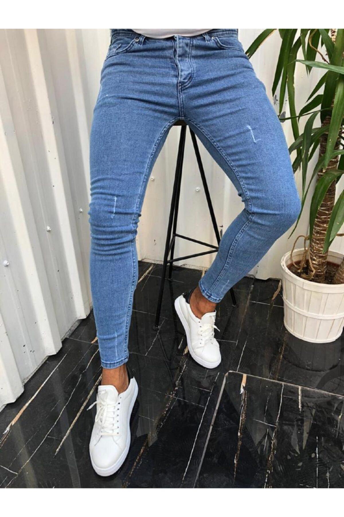 moda biz Erkek Jean Italyan Kesim Denım Kot Pantolon Açık Mavi 1