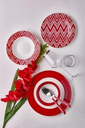 Neva Valentine 24 Parça Kırmızı Yuvarlak Yemek Takımı
