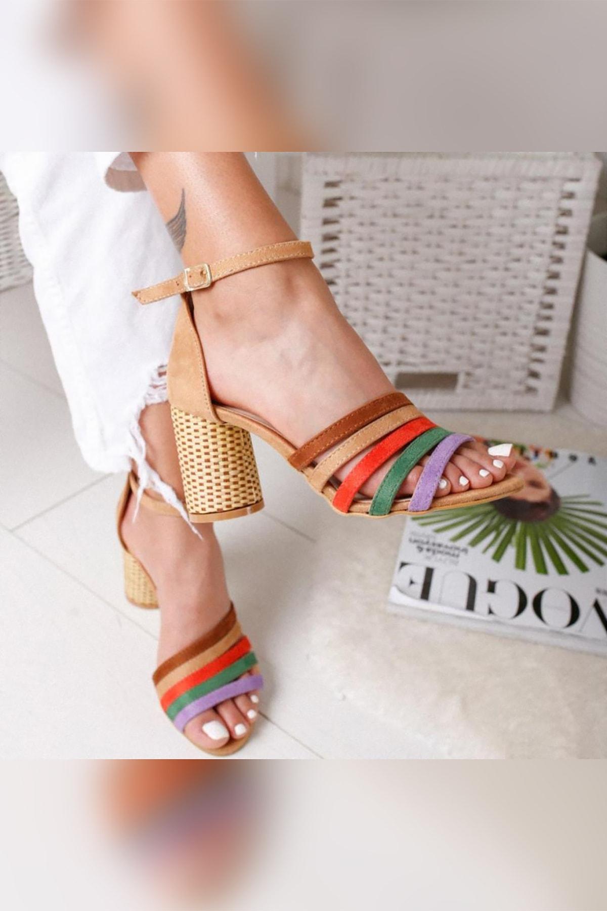 Limoya Kadın Kum Süet Multi Hasır Topuklu Ayakkabı 1
