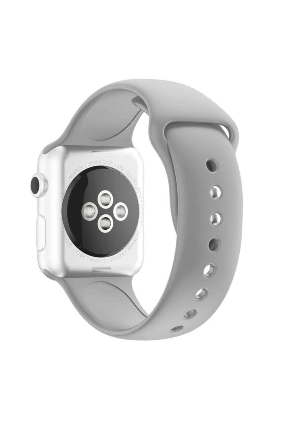Bilişim Aksesuar Apple Watch 42 44 Mm Silikon Kordon Açık Gri 1