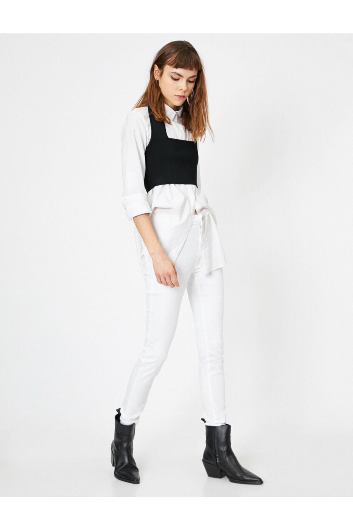 Koton Kadın Beyaz Cep Detaylı Pantolon 0YAL41676MW 1