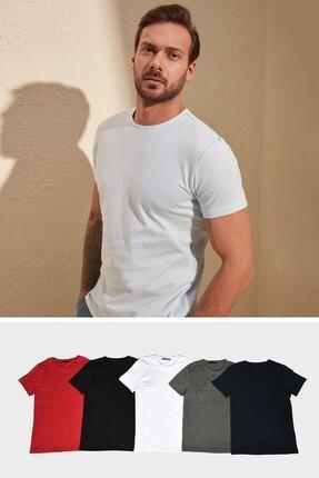 TRENDYOL MAN Çok Renkli 5'li Erkek Basic Bisiklet Yaka Kısa Kollu Süprem Slim Fit T-shirt Tmnaw20ts0243