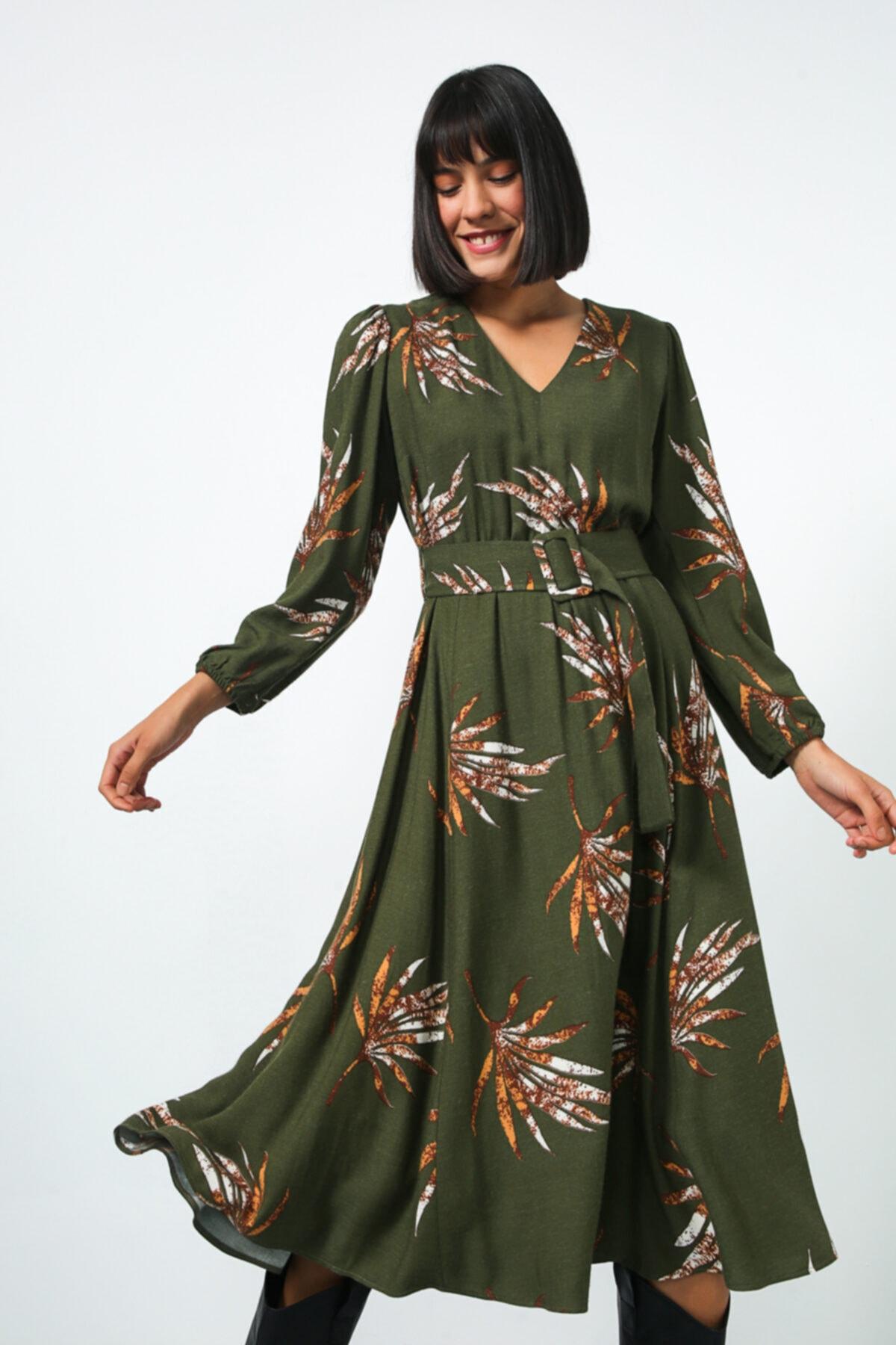 Gusto V Yaka Uzun Elbise - Haki 2