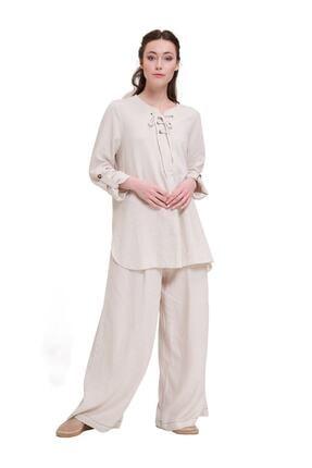 Mizalle Kadın Bej  Bağcıklı Keten Bluz