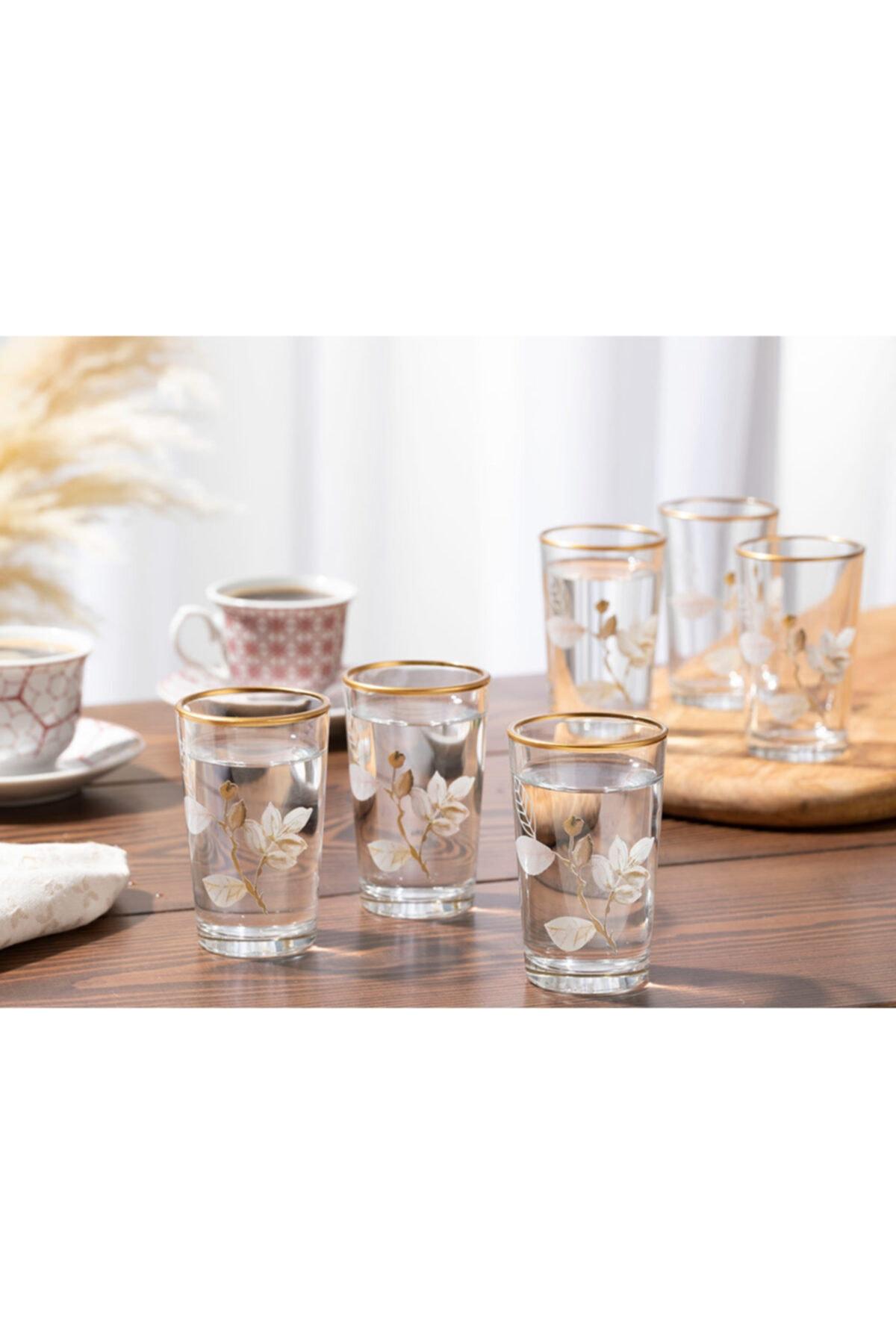English Home Bahar Dalı Cam 6'lı Kahve Yanı Su Bardağı 100 Ml Şeffaf 1