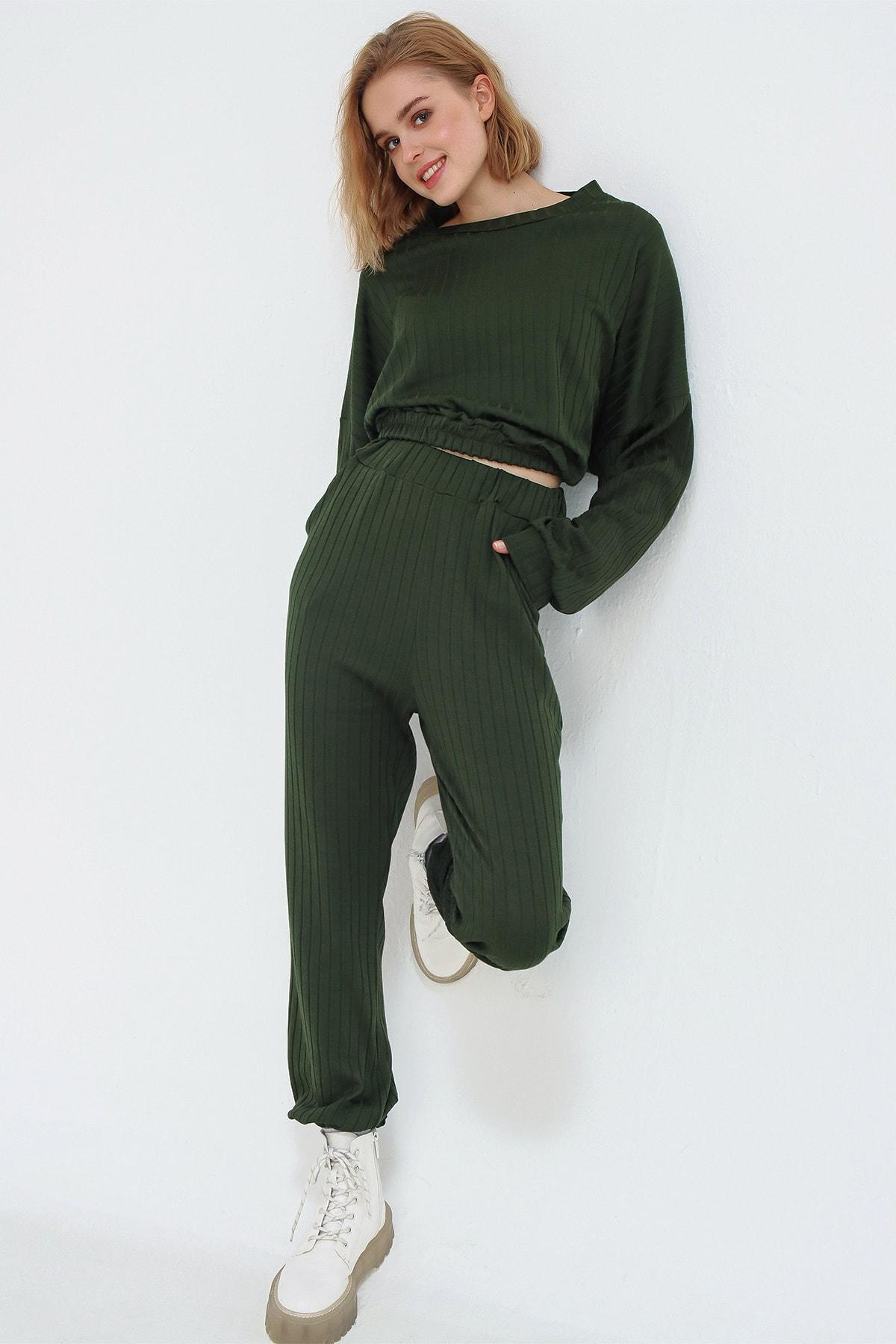 Trend Alaçatı Stili Kadın Yeşil Beli Lastikli Eşofman Takım ALC-507-509-FT 2