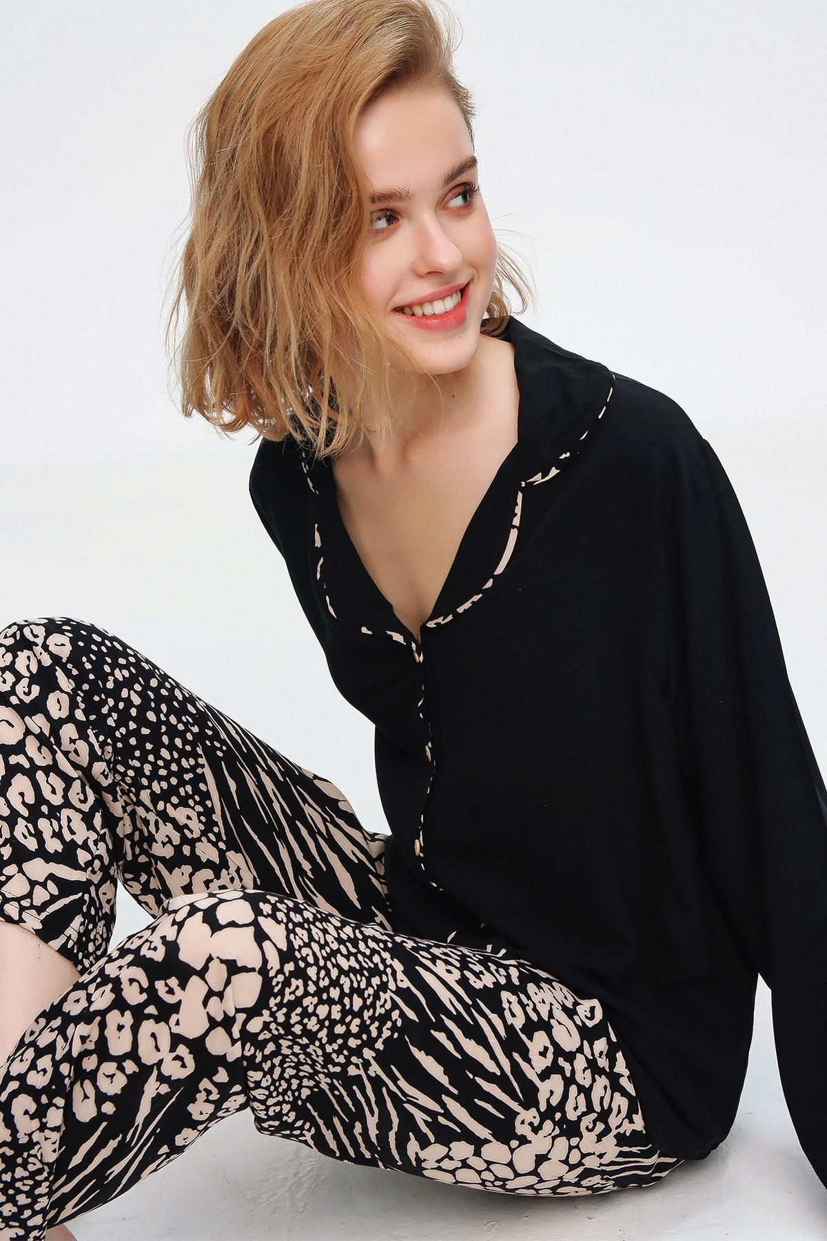 Trend Alaçatı Stili Kadın Siyah Gömlek Yaka Desenli Pijama Takım ALC-X5543 1