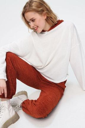 Trend Alaçatı Stili Kadın Kiremit Renk Bloklu Şönil Kapüşonlu Eşofman Takım ALC-507-520-ŞN