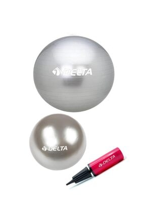 Delta 55 Cm Pilates Topu 25 Cm Mini Denge Topu Ve Pompası Seti