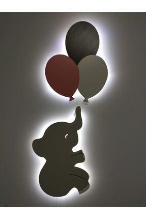 fabrikahşap Çocuk Odası Dekoratif Ahşap Fil 3 Lü Uçan Balon Yıldız Gece Lambası Ledli Aydınlatma