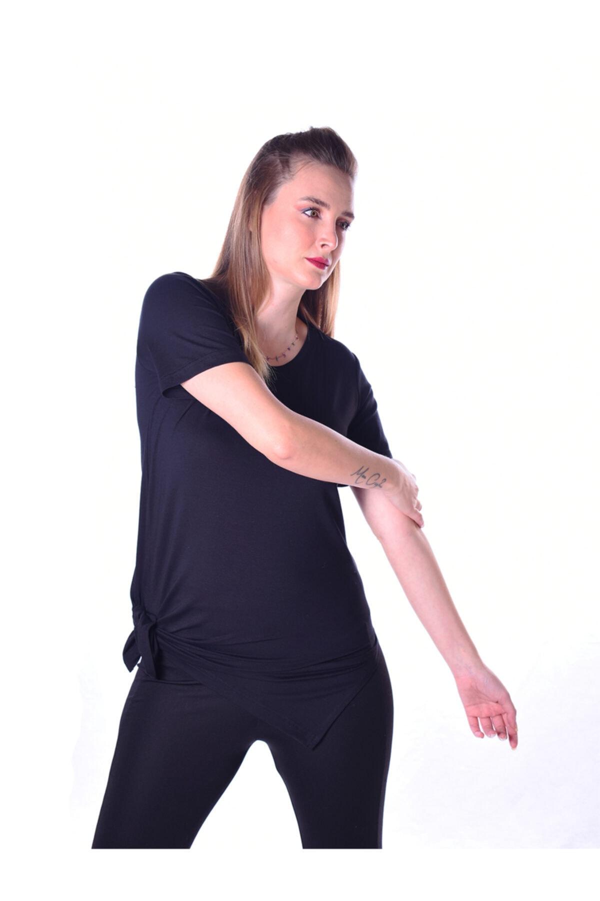 DURRA FASHION Kadın Siyah Yanları Yırtmaçlı Uzun T-shirt 2