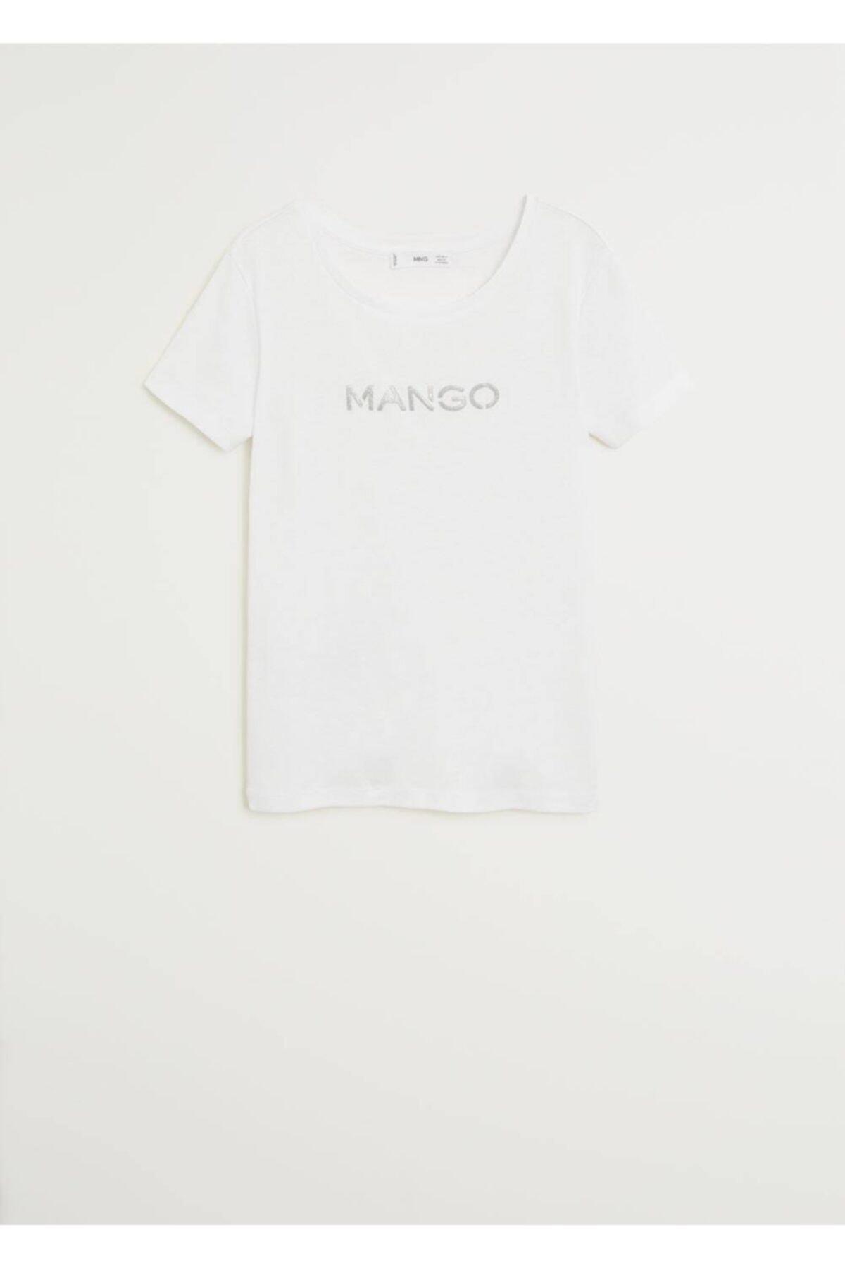 MANGO Woman Kadın Beyaz Metalik Logolu Tişört 77050535 1