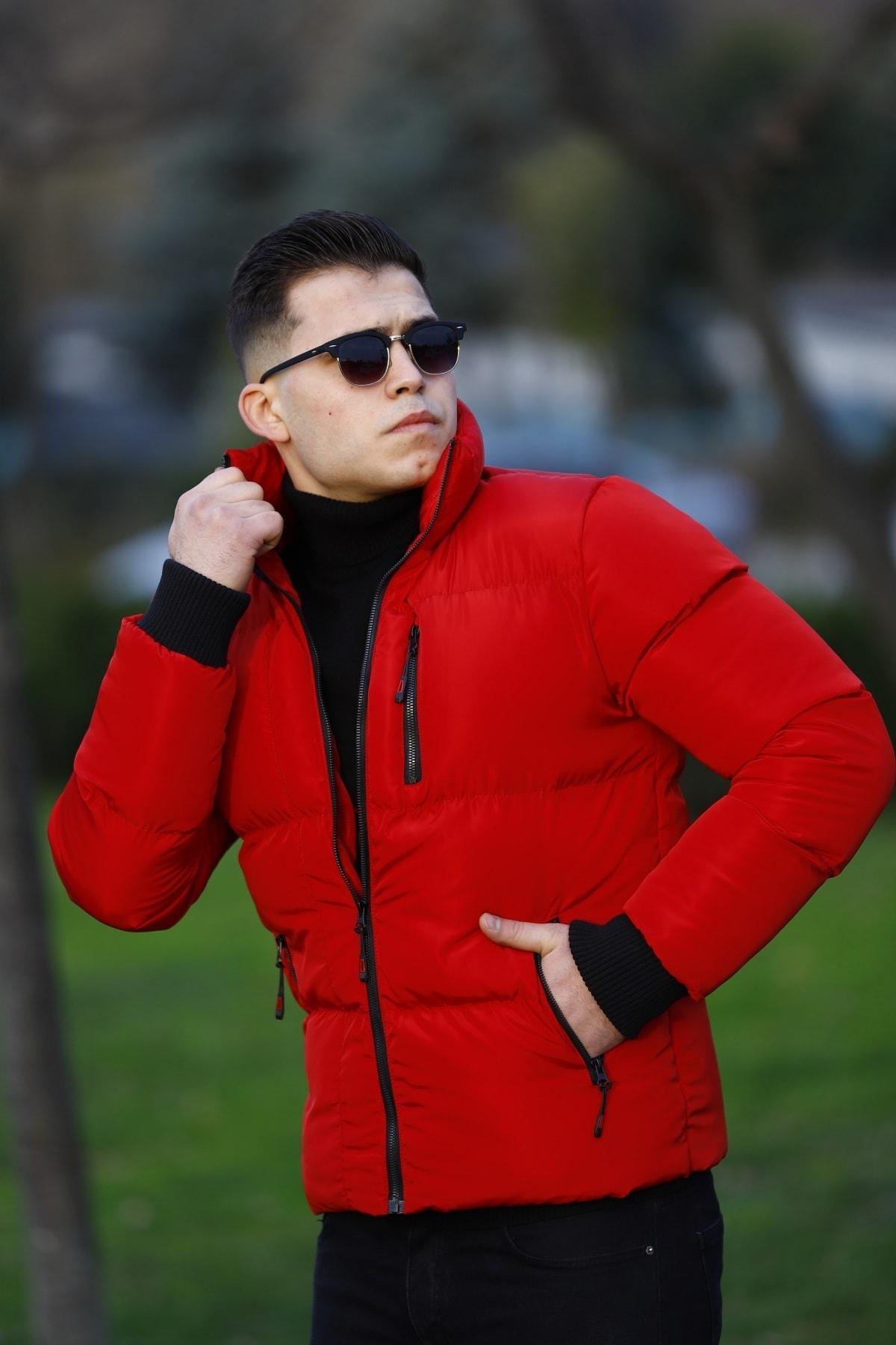 WOWA COMPANY Erkek Kırmızı Şişme Mont 2
