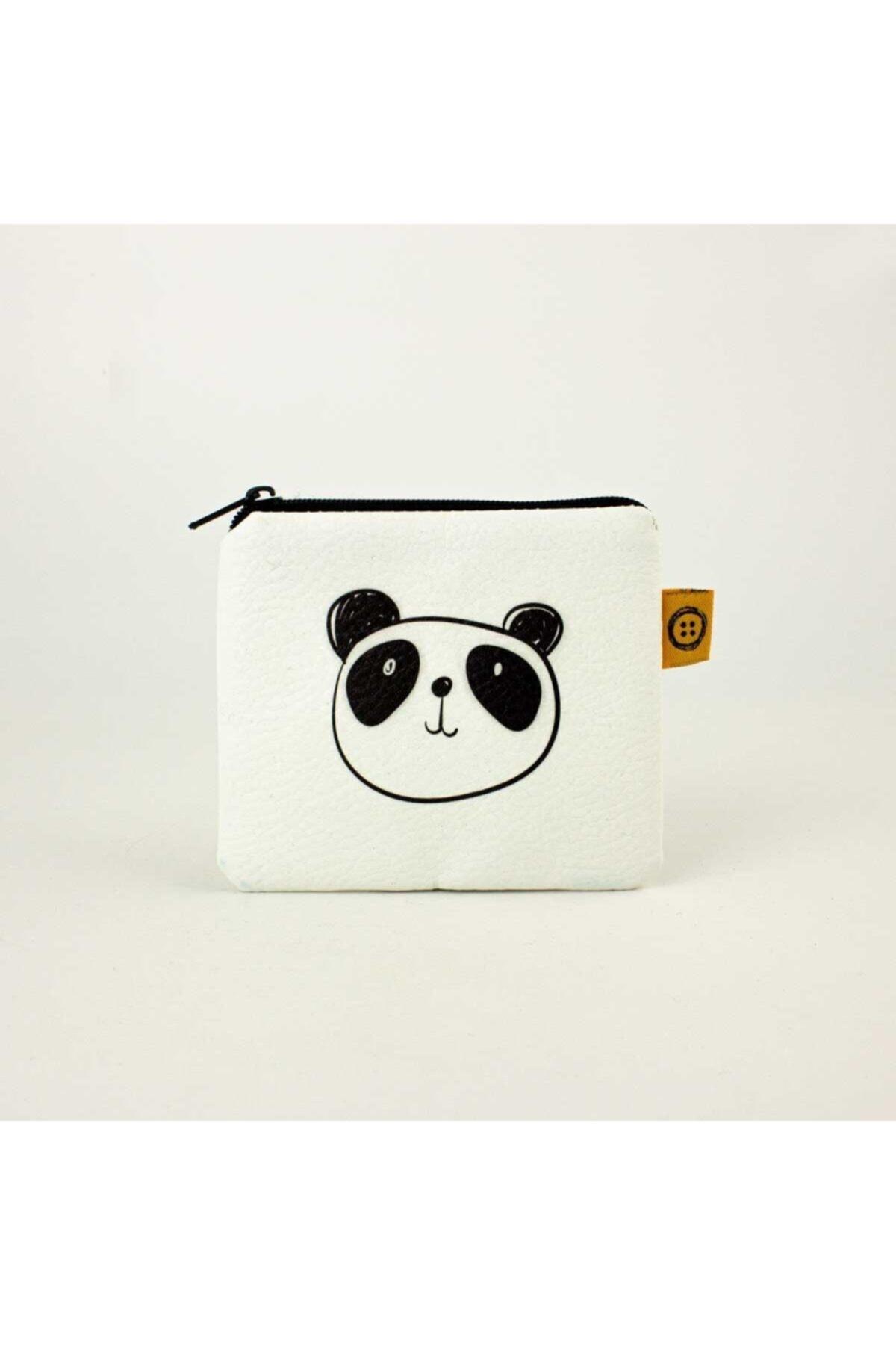 PALTO TASARIM Unisex Ekru Çizim Panda Resimli Bozuk Para Cüzdanı 1
