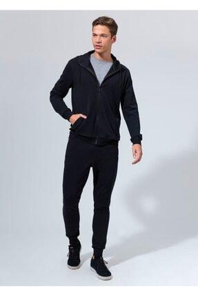 Dagi Siyah Fırçalı Fermuarlı Kapşonlu Erkek Sweatshırt