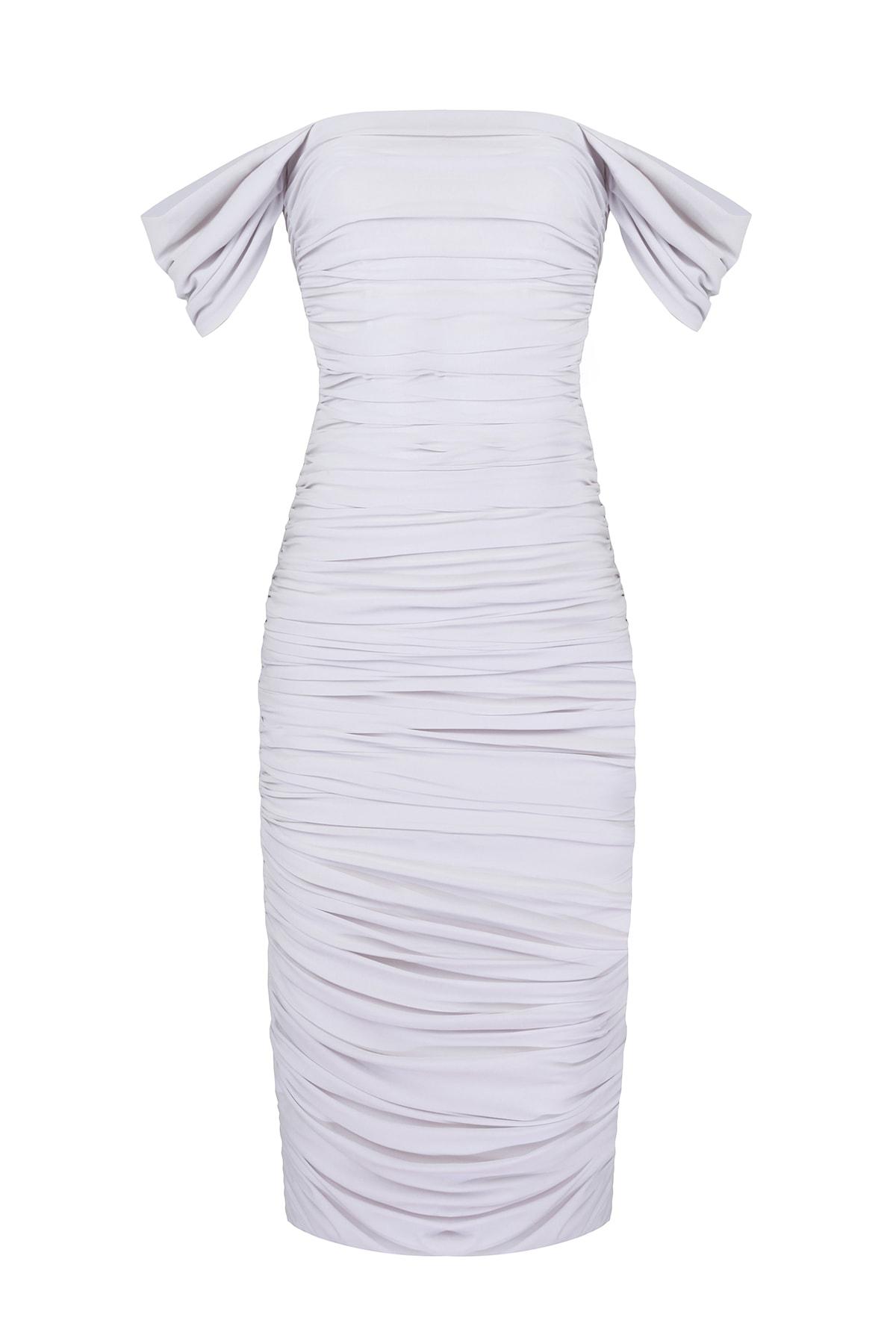 Whenever Company Kadın Beyaz Drapeli Bridal Düşük Kollu Elbise 1