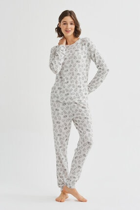 Penti Açık Gri Melanj Cute Bunny Pijama Takımı