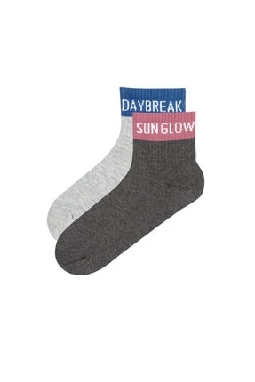 Penti Gri Melanj Slogan 2li Soket Çorap