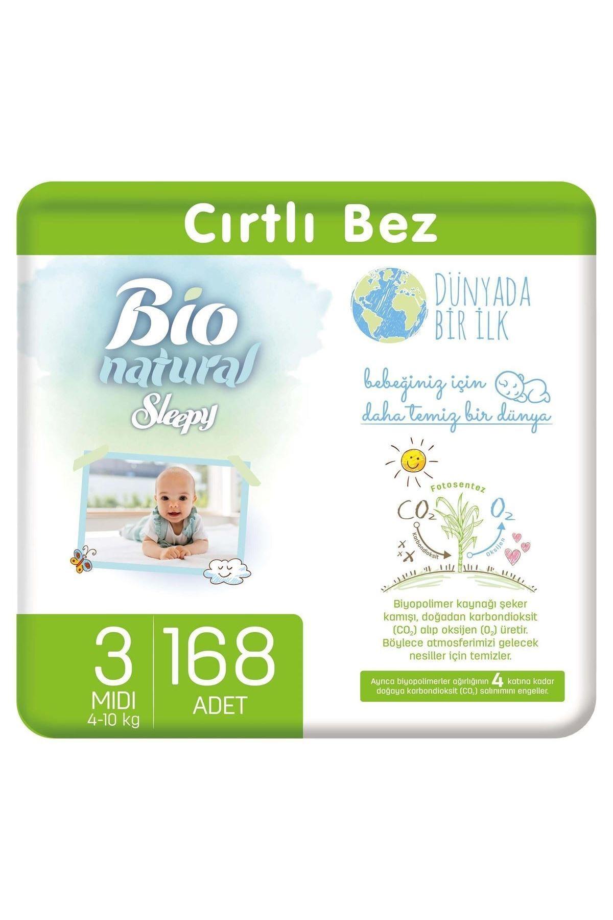 Sleepy Bio Natural Bebek Bezi 3 Numara Midi 168 Adet 1