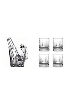 Paşabahçe Lüx Viski Seti 4 Elysia Viski Bardağı Ve Buz Kovası