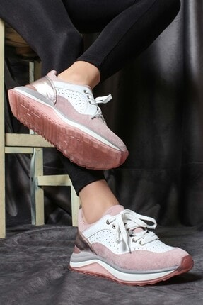 FAST STEP Hakiki Deri Pudra Krem Kadın Sneaker Ayakkabı 009za980