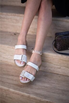 ESPARDİLE Kadın Beyaz Taşlı Sandalet