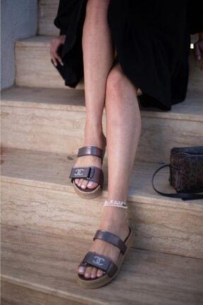 ESPARDİLE Kadın Kahverengi Taşlı Sandalet