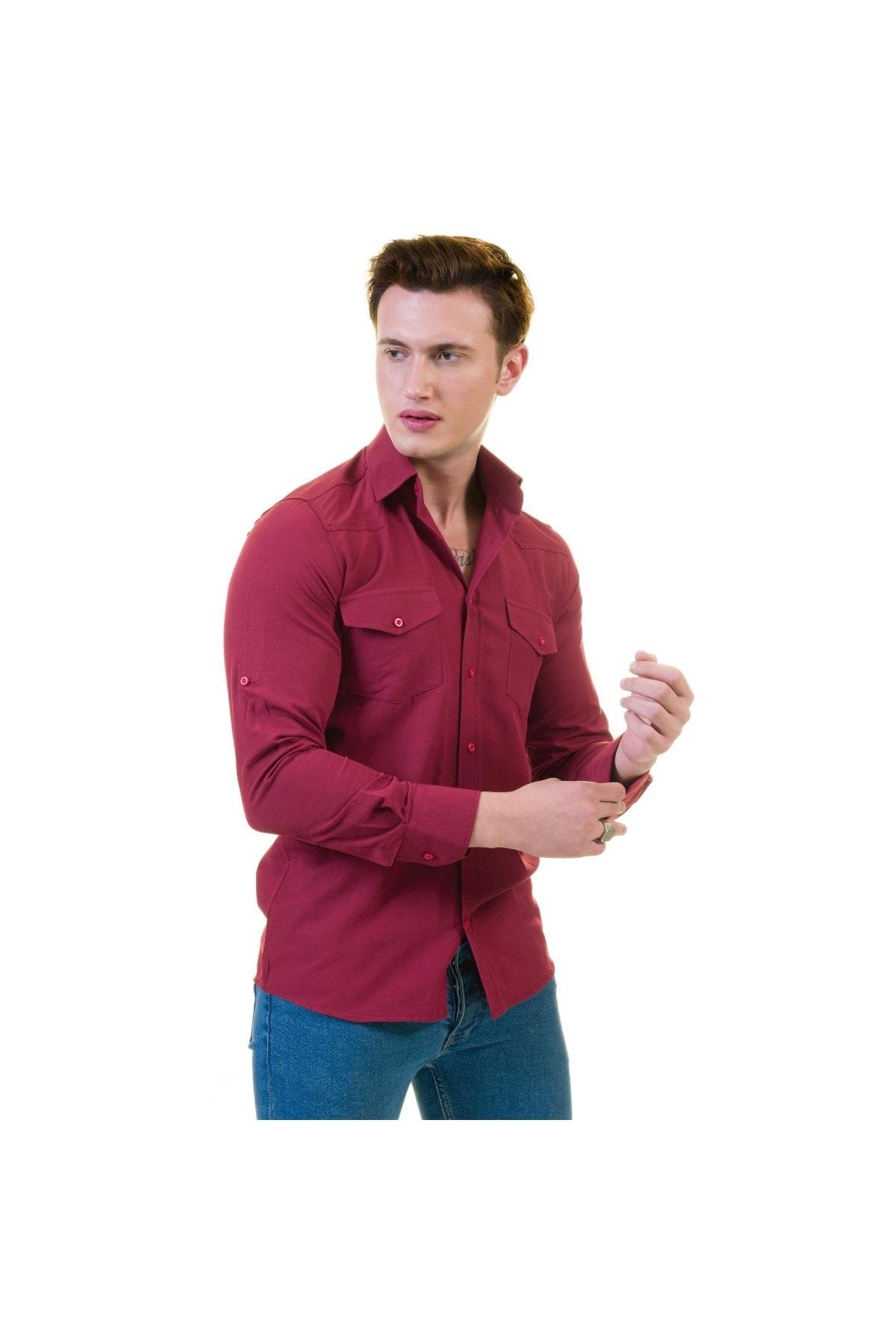 Exve Exclusive Vişne Çürüğü Özel Yıkamalı Cepli Western Gömlek 1