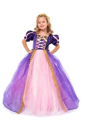 DEHAMODA Rapunzel Kostüm- Taçlı Rapunzel Kostümü - Pelerinli Taclı Rapunzel Kostümü - Tarlatanlı