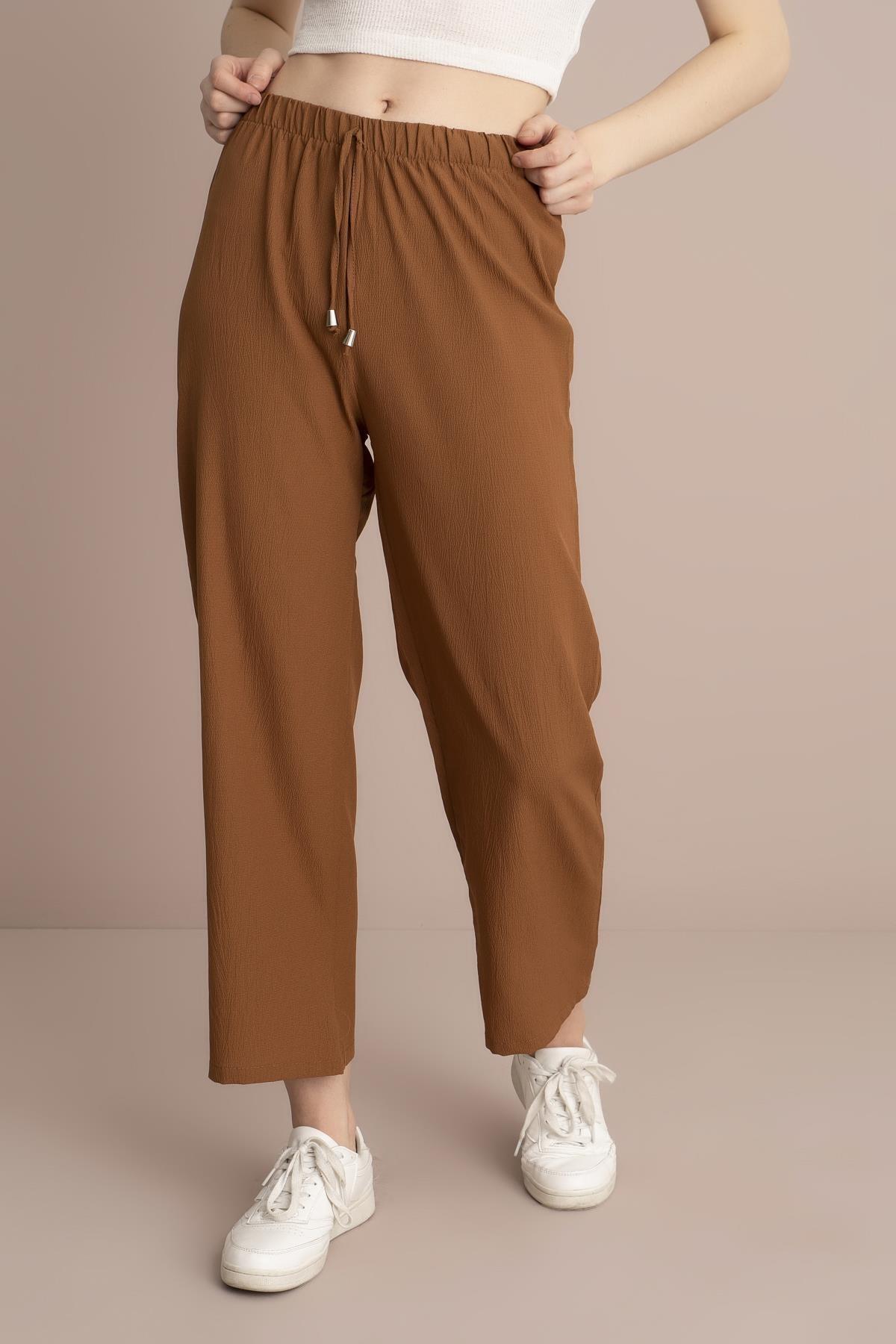 TENA MODA Kadın Tarçın Bel Lastikli Bol Paça Pantolon 2