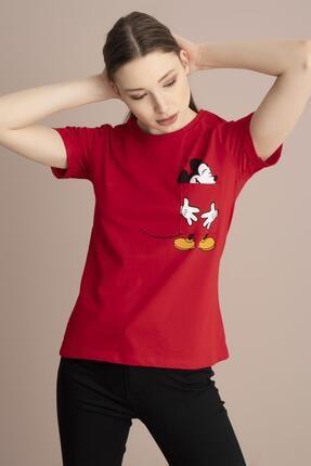 TENA MODA Kadın Kırmızı Bisiklet Yaka Cebinde Mickey Baskı Tişört