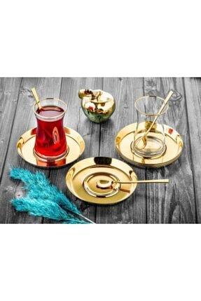 MADYMARK Özlife Çay Tabak Tabağı 6 Adet Paslanmaz Çelik Gold Altın Titanyum Kaplama