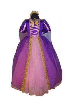 DEHAMODA Kız Çocuk Rapunzel Kostüm Doğumgünü Party Elbise Pelerinli Taclı Tarlatanlı Rapunzel Kostüm