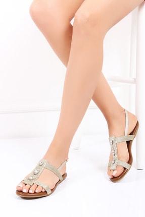 Deripabuc Hakiki Deri Gold Kadın Deri Sandalet Dp53-0013
