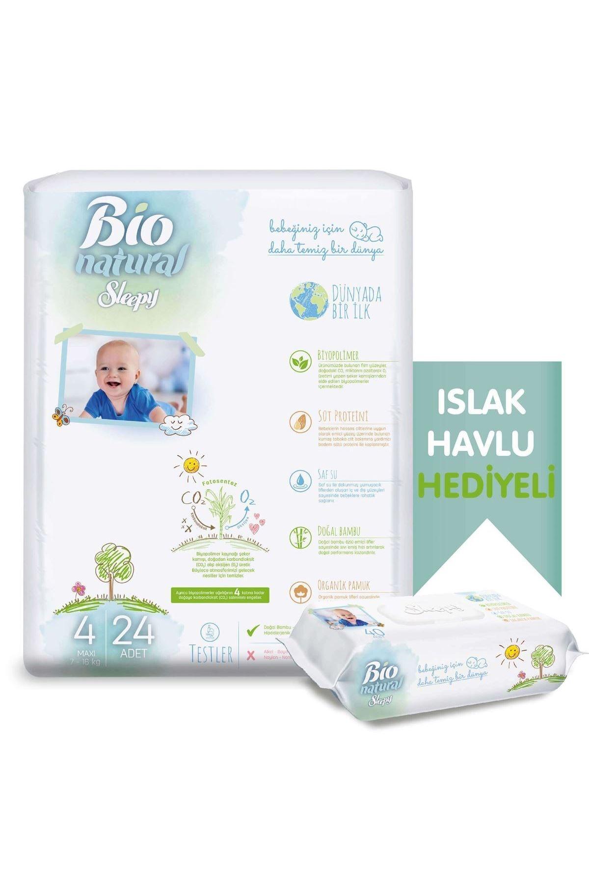 Sleepy Bio Natural Bebek Bezi 4 Numara Maxi 24 Adet + Bio Natural Islak Havlu Hediyeli 2