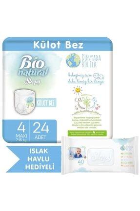 Sleepy Bio Natural Külot Bez 4 Numara Maxi 24 Adet + Bio Natural Islak Havlu