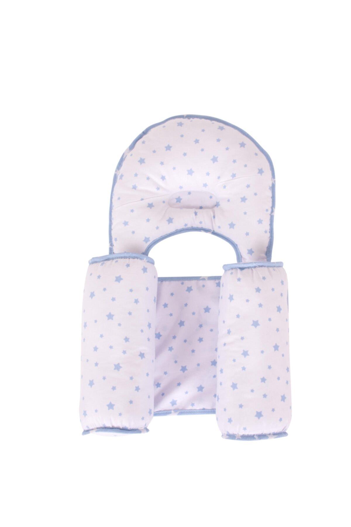 Sevi Bebe Kafa Şekillendirici Yastık Yan Yatış Yastığı Art-33 Mavi Yıldız 2