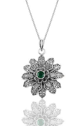 Söğütlü Silver Gümüş Kök Zümrüt Taşlı Telkari Kolye