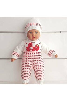 bebegen Köpek Baskılı Kırmızı 3 Li Kız Bebek Triko