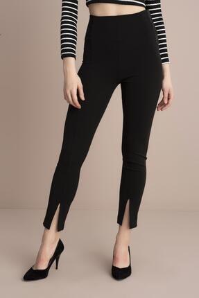 TENA MODA Kadın Siyah Yüksek Bel Paça Yırtmaçlı Pantolon