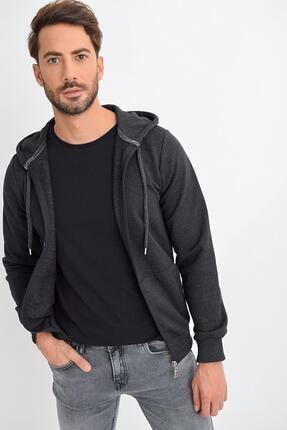 TENA MODA Erkek Antrasit Melanj Kapüşonlu Fermuarlı Basic Sweatshirt