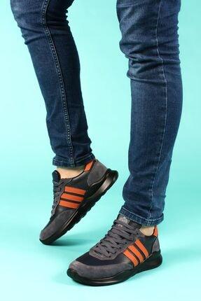 FAST STEP Hakiki Deri Siyah Füme Erkek Sneaker Ayakkabı 723ma101