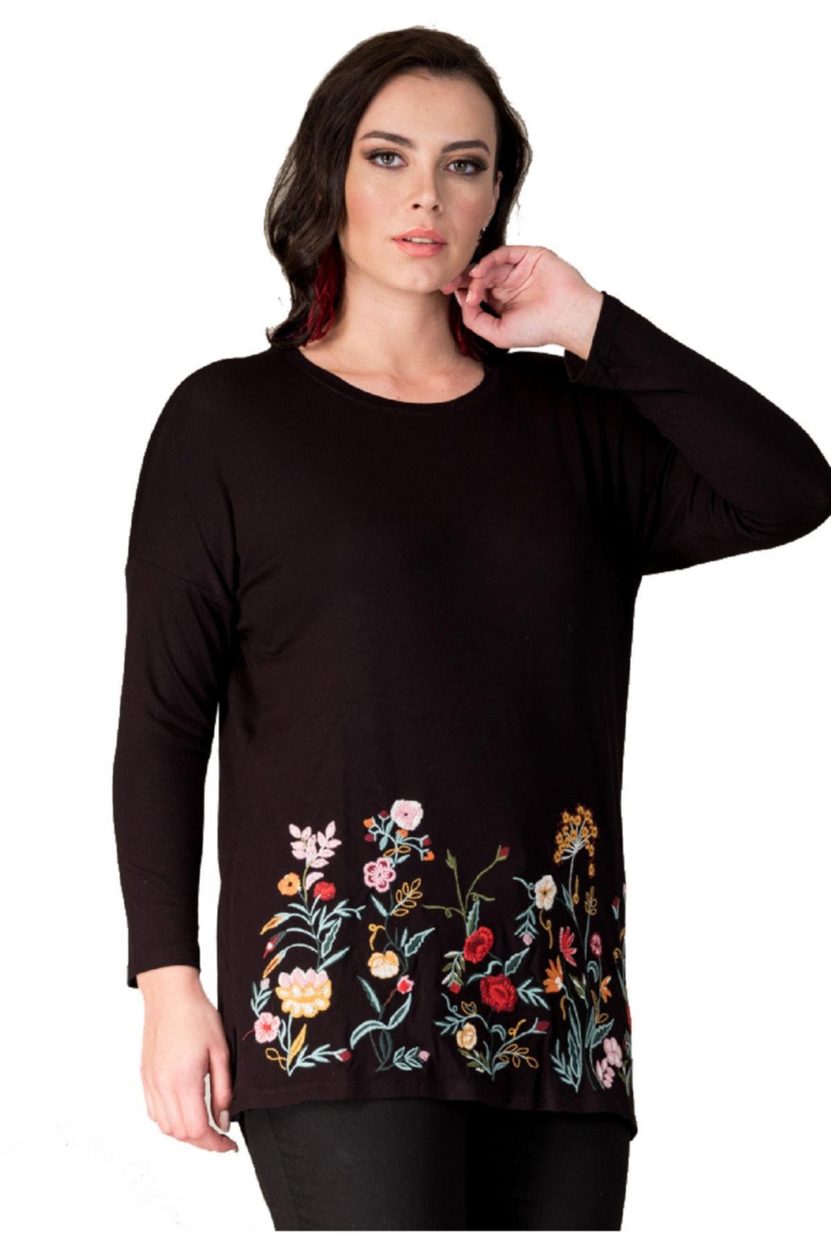 Günay Giyim Kadın Tunik Hnz192 Sonbahar Kış O Yaka Triko Işleme 1