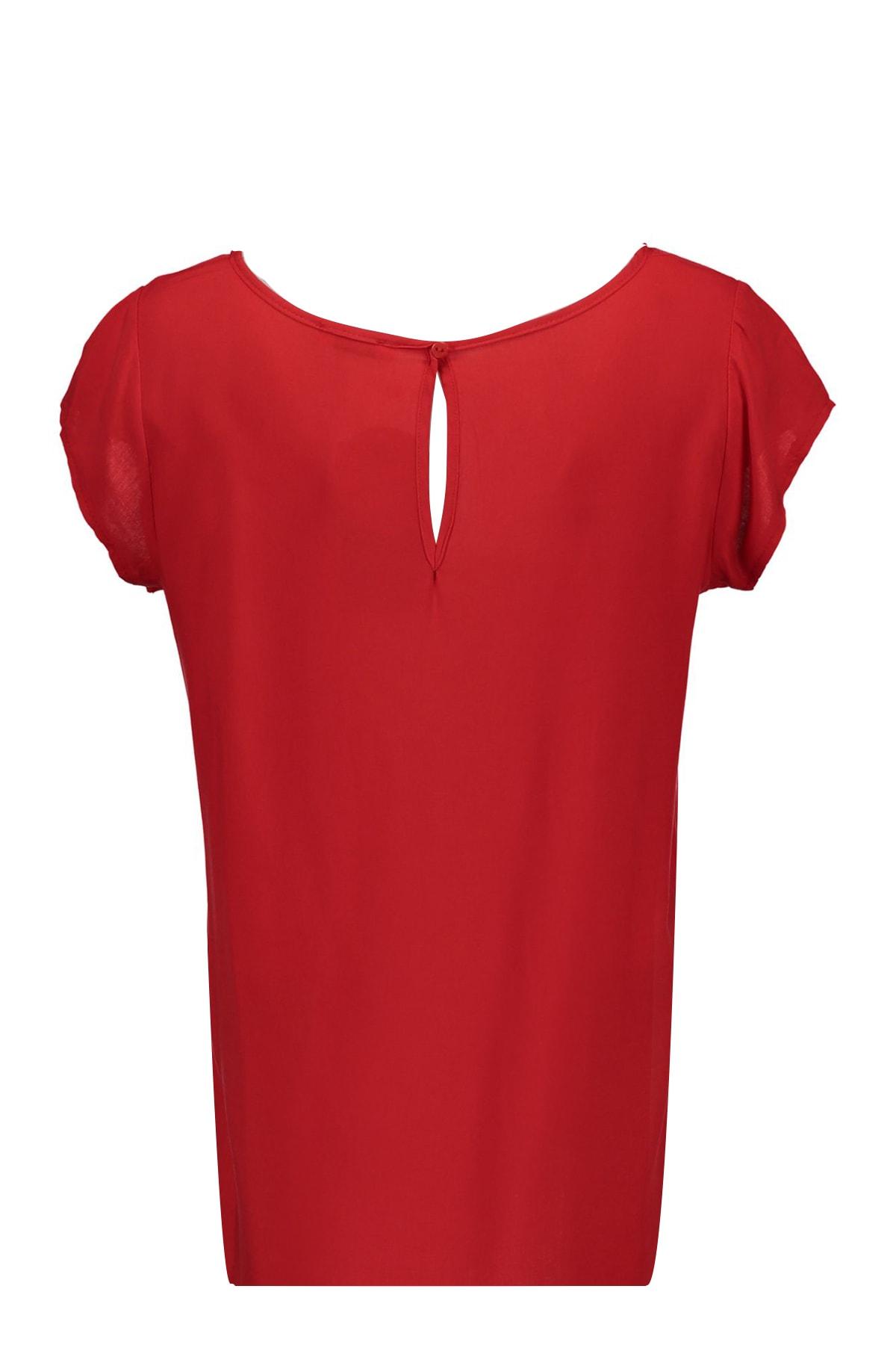 Collezione Kırmızı Arkası Uzun Basic Kadın Bluz 2